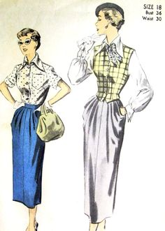 1950s Classy Blouse, Skirt and Weskit Vest Pattern Advance 5504  Beautiful Design Details Bust 36 Vintage Sewing Pattern FACTORY FOLDED