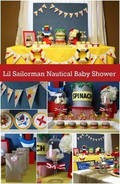 L'il Sailorman Nautical Baby Boy Shower - Spaceships and Laser Beams Baby Shower Tea, Baby Shower For Men, Baby Shower Parties, Baby Shower Supplies, Boy Baby Shower Themes, Baby Shower Decorations, Nautical Baby, Nautical Theme, Rustic Theme