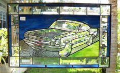 Custom Made Stained Glass Panel Sports Car Classic Car Vintage Mustang