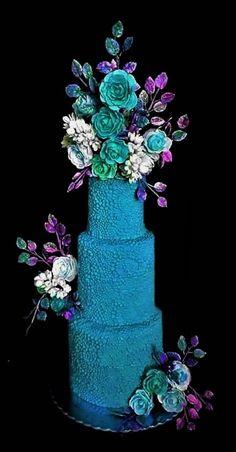Blue wedding cake - cake by WorldOfIrena Gorgeous Cakes, Pretty Cakes, Extreme Cakes, Amazing Wedding Cakes, Amazing Cakes, Fantasy Cake, Blue Cakes, Cupcakes, Colorful Cakes