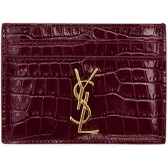 Saint Laurent Burgundy Croc-Embossed Monogram Card Holder (955 SAR) ❤ liked on Polyvore featuring bags, wallets, burgundy, crocodile wallet, logo bags, yves saint laurent wallet, monogrammed bags and croc bags