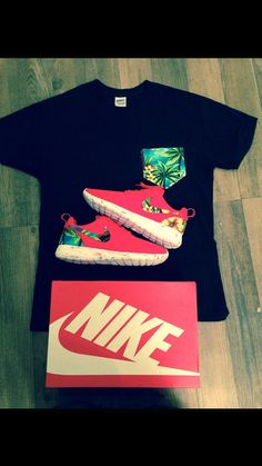 Custom Red Marble Island Floral Nike Roshe Run by MasterRoshes