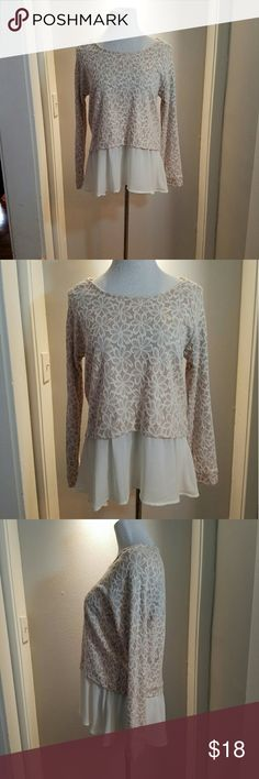 Sz Large 2 layered top pastel pink worn once Worn only once, not my color. Size Large. Floral pattern and the faux 2 layer style.  Excellent condition. Tops Blouses
