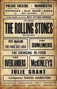 Rolling Stones Concert Poster - Sunday, May 1964 Rock Posters, Band Posters, Vintage Concert Posters, Vintage Posters, Festival Off, Los Rolling Stones, We Will Rock You, Pop Rock, Vintage Rock