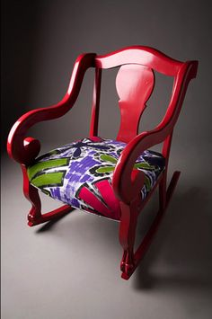 Designer Suzanne Meyer Pistorius of BlugirlArt began her first collection using recycled chairs, stripping its color, refinishing and repai. Fabric Covered Furniture, Funky Furniture, Colorful Furniture, Painted Furniture, Metal Rocking Chair, Painted Rocking Chairs, Chair Side Table, Side Tables, Funky Chairs