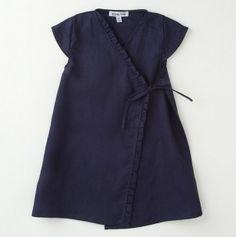 Linen Kimono Ruffle Dress