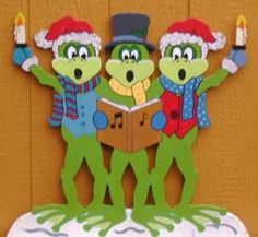 """Caroling Frogs - This Christmas Yard Art Decoration was MADE-TO-ORDER by """"Art de Yard"""". Design ©The Winfield Collection"""