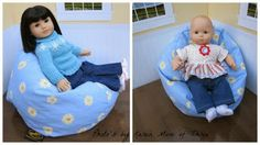 A few months ago I got a ahh! Bean bag chair for my dolls and we love it. Doll Furniture, Doll Stuff, Diy Doll, American Girl, Bean Bag Chair, To My Daughter, Lovers, Dolls, Mom