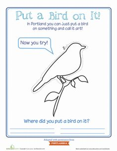 Third Grade Paper Projects Worksheets: Put a Bird on It!