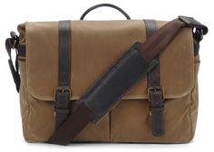 ONA: The Brixton camera and laptop messenger bag in Field Tan. $269