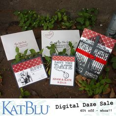 Adorable lasercut wedding invitations and stationery. Unique and custom designs. 40% off Digital Printing at KatBlu Studio this week only (10/8/12)
