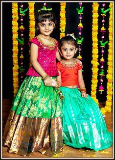 Pattu pavada designs by Angalakruthi Bangalore Kids Party Wear Dresses, Kids Dress Wear, Kids Gown, Dresses Kids Girl, Kids Wear, Baby Dresses, Baby Lehenga, Kids Lehenga, Kids Saree