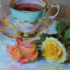 Tea and Roses by Elena Katsyura Oil ~ 6 in x 6 in