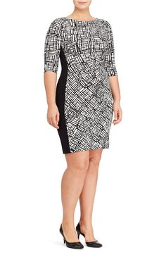 f86c1f53a97 Lauren Ralph Lauren Print Jersey Sheath Dress (Plus Size) Bodycon Dress