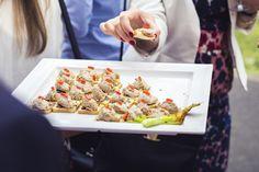 wedding canapés #london #catering  Pork rillette with apple chutney on mini brioche wheels