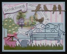 (EK) Tuintafereeltje!! Pinterest Cards, Bird Cards, Paper Frames, Marianne Design, Garden Theme, Vintage Cards, Layouts, Birthday Cards, Projects To Try