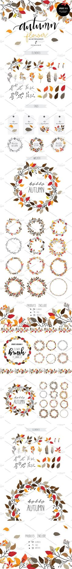 Autumn flower Vector set II. Wedding Card Templates. $5.00