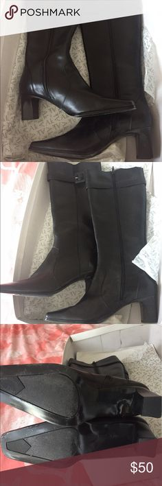Anne Klein black leather tall boots These are in great shape! No scratches on the toe or leather and the bottoms are in good shape. Anne Klein Shoes Heeled Boots