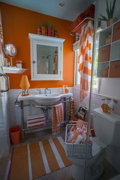 "Such a happy bathroom! Charles' ""California Sunset"" Room — Room for Color Contest Orange Bathrooms Designs, Burnt Orange Bathrooms, Orange Bathroom Decor, Modern Bathroom Decor, Bathroom Wall Decor, Grey Bathrooms, Bathroom Colors, Bathroom Ideas, Cottage Bathrooms"