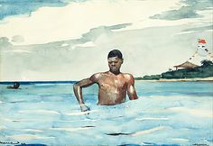 The Bather - 1899,  Winslow Homer, watercolor