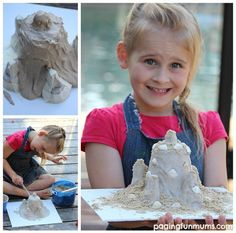 This easy sandcastle craft is such a FUN activity! Perfect for preserving childhood memories of building sandcastles! Wooden Craft Sticks, Craft Stick Crafts, Crafts To Make, Diy Crafts, Craft Ideas, Diy For Kids, Crafts For Kids, 4 Kids, Early Childhood