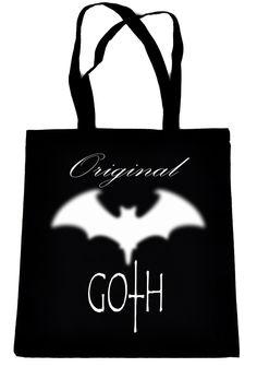 Original Goth with Bat on Black Tote Book Bag Gothic Deathrock Handbag
