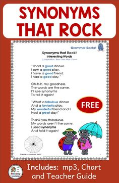 Check this out! Sing along to the garage-band beat and learn about Synonyms! This FREE Synonyms mini-lesson includes: an mp3, classroom chart, and a teacher reference page. Would you like to get your students using more synonyms in their writing? What a fun way to learn! Grammar made easy. Check it out here!  {kindergarten, grade one, grade two, 1st, ESL}  {PRINT Letters, SASSOON Font} #synonyms  #jollygrammar Student Learning, Kids Learning, Classroom Charts, Classroom Resources, Word Work Activities, Kindergarten Activities, Teaching Programs, Phonics Reading, Jolly Phonics