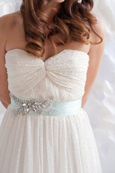 Mint Dress Sash #2013 #Wedding #Trend (by tessa kim, photographed by candice benjamin)