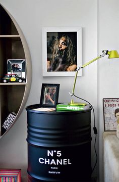Copycat this look: Chanel Parfum drum / bedside table!