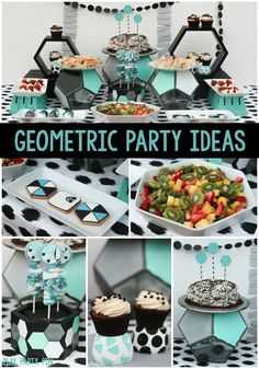 Love all of the details from this geometric party, especially all of the favorite things party ideas!