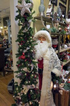 Lifesize Santa and Tree available at Cornerstone Shop & Gallery in Lake Geneva, WI #holidaydecor #ditzdesigns #santadecor #santa