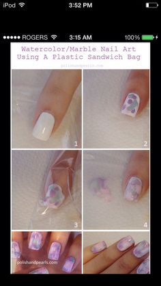 Easy Marbling Effect! Apply a white base coat, then just dab random colours on top when dry. Quickly but a sandwich bag on top then remove. A pretty marble looking design will appear!