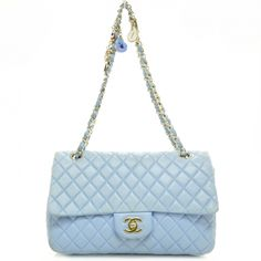 This is an authentic CHANEL Lambskin Heart Valentine Medium Flap Baby Blue.  This lovely bag ea4190412