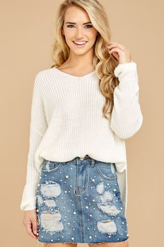 .. Knight In Shining Armor, Denim Skirt, Ivory, Fall, Skirts, Sweaters, Modeling, Fashion, Autumn