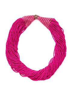 Cara Couture Jewelry Fuchsia Seed Bead Twisted Strand Necklace