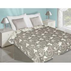 Sivo biele obliečky na posteľ obojstranné s kvetmi