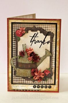 """In My Own Imagination: Sizzix """"Thanks"""" Card Tutorial using Tim Holtz, Ranger, Idea-ology, Sizzix and Stamper's Anonymous products; Apr 2015"""