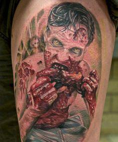 a zombie tattoo I did on the Tattoo Ink 2012 , Mönchengladbach/ Germany I took a reference pic Walking dead zombie tattoo Zombie Bite Tattoo, Zombie Tattoos, Wicked Tattoos, Creepy Tattoos, Badass Tattoos, Tattoos For Guys, Cool Tattoos, Horror Tattoos, Geek Tattoos
