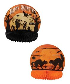 Vintage-style Halloween Paper Honeycomb Displays Black Cat Ghost Bethany Lowe