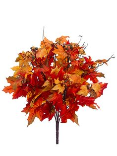 Artificial Maple Leaf Bush with Berries in Orange Yellow Add a burst of festive autumn color to your DIY centerpieces with this beautiful, faux maple leaf bush in orange yellow with berries. Perfect as a vase arrangement for home decor, or clip off the maple leaves and add to fall wedding bouquets! #afloral