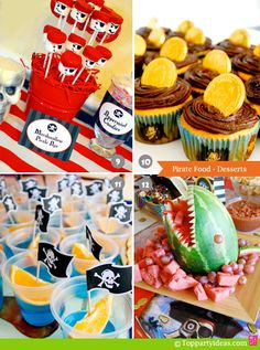 Pirate Party Food - Desserts: Cupcakes with golden coins, marshmallow pirate pops, jello ocean ships, watermellon shark