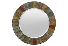 """This is a """"new"""" mirror from Three Hands on OKL. but, I think this could be a fun refinish/craft idea! The price is 245 new, 119 on sale. want to challenge myself to make a similar one for less! Cottage Mirrors, Rustic Mirrors, Reclaimed Wood Mirror, Weathered Wood, Bathroom Kids, Kid Bathrooms, City Apartment Decor, Rustic Room, Primitive Antiques"""