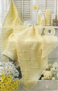Treasured Heirlooms Crochet catalog of baby afghan and gift pattern booklets, magazines, and leaflets: You Are My Sunshine afghan and nursery set Baby Afghan Crochet, Manta Crochet, Crochet Bebe, Baby Afghans, Knit Crochet, Baby Blankets, Crochet Crafts, Crochet Projects, Yellow Cottage