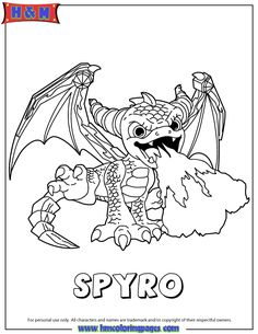 Skylanders Giants Magic Spyro Coloring Page
