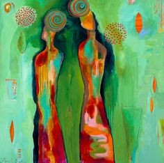 """""""Two Flowers"""" by Flora Bowley - 50″ x 50″, acrylic on canvas 2010"""