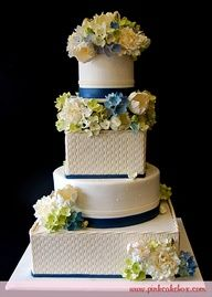 yellow and blue wedding cakes - Google Search