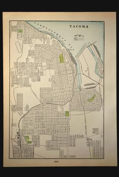 This is an antique street map of Tacoma Washington that was taken from a 1902 atlas. The entire map page measures about 10-3/4 x 14-1/2. *  Please note that I am selling other maps, including other Washington State maps: http://etsy.me/2bEVzER ____________________________________________________  This is an ORIGINAL and not a reproduction. * This page is 115 years old. Considering the age of this map, it is in an overall very good to excellent condition. There is some...