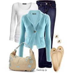 Baby Blue, jeans, flats