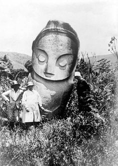 Megaliths of Bada Valley - Central Sulawesi, Indonesia. In this pristine valley there are scattered hundreds of impressive ancient stone statues and kalamba - enormous stone cisterns.