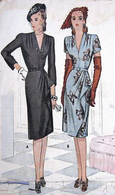 1940s Little Black Dress Pattern McCall 5899 Low V Neck Dramatic Side Drape Long 3/4 or Short Sleeves Cocktail After 5 Bust 32